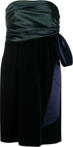 Czarna sukienka Emporio Armani z satyny z okrągłym dekoltem