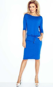 Niebieska sukienka Coco Style sportowa z długim rękawem