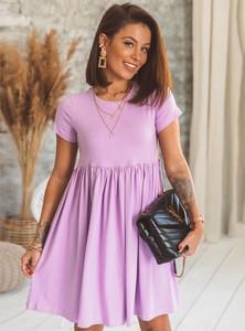 Fioletowa sukienka SELFIEROOM z okrągłym dekoltem