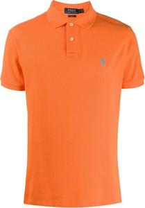 Pomarańczowy t-shirt Ralph Lauren z krótkim rękawem w stylu casual