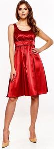 Sukienka Fokus z okrągłym dekoltem midi z satyny