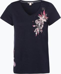 Granatowy t-shirt Esprit z krótkim rękawem w stylu casual