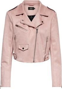 Różowa kurtka Only w rockowym stylu krótka