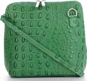 e3a553588263e Zielona torebka GENUINE LEATHER ze skóry średnia z tłoczeniem