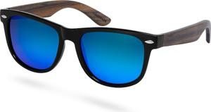 Trendhim Czarno-niebieskie polaryzacyjne okulary przeciwsłoneczne z drewna hebanowego