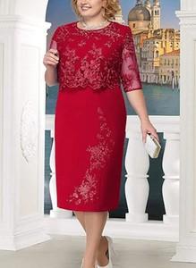 Czerwona sukienka Cikelly z długim rękawem z okrągłym dekoltem midi