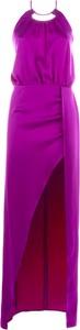Różowa sukienka Actualee maxi z dekoltem w kształcie litery v bez rękawów
