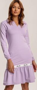 Fioletowa sukienka Renee z długim rękawem mini