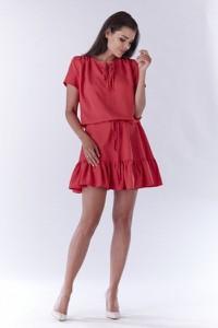 Czerwona sukienka Awama z krótkim rękawem mini