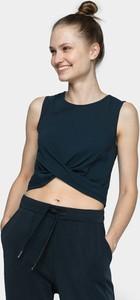 Granatowa bluzka 4F z okrągłym dekoltem bez rękawów w stylu casual