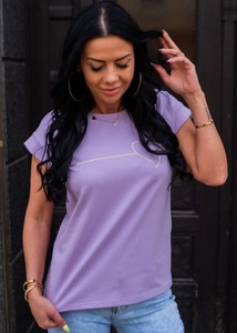 Fioletowa bluzka Fason w stylu casual z krótkim rękawem z bawełny