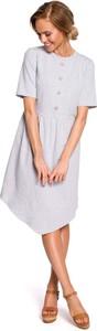 Sukienka MOE z okrągłym dekoltem asymetryczna z bawełny