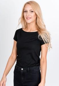 Czarna bluzka Zoio z krótkim rękawem w stylu casual z okrągłym dekoltem
