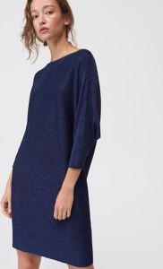Niebieska sukienka Mohito oversize z długim rękawem mini