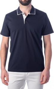 Niebieska koszulka polo J.w.sax Milano z krótkim rękawem