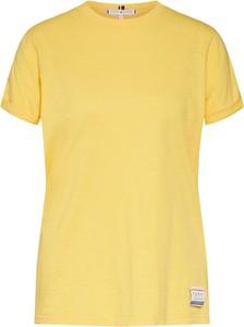 Żółta bluzka Tommy Hilfiger z tkaniny w stylu casual z okrągłym dekoltem