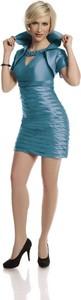 Turkusowa sukienka Fokus w stylu glamour mini z dekoltem typu choker