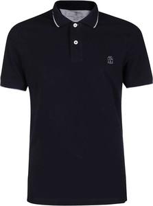 Niebieska koszulka polo Brunello Cucinelli w stylu casual z krótkim rękawem z bawełny