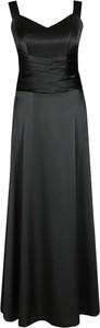 Czarna sukienka Fokus z dekoltem w kształcie litery v maxi gorsetowa