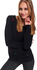 Czarny sweter Top Secret w stylu casual z dzianiny w bożonarodzeniowy wzór