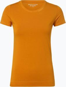 Żółty t-shirt Marie Lund w stylu casual z okrągłym dekoltem