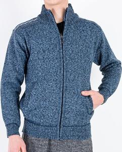 Granatowy sweter Royalfashion.pl w stylu casual ze stójką