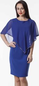 Niebieska sukienka Semper w stylu klasycznym midi baskinka