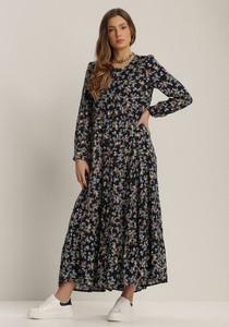 Granatowa sukienka Renee z długim rękawem