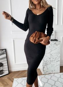 Czarna sukienka Cikelly z okrągłym dekoltem w stylu casual dopasowana