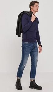Niebieski t-shirt Blauer Usa z bawełny z długim rękawem