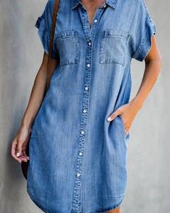 Sukienka Kendallme z jeansu z krótkim rękawem z kołnierzykiem