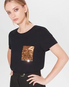 Czarny t-shirt Mohito z krótkim rękawem z okrągłym dekoltem w stylu casual