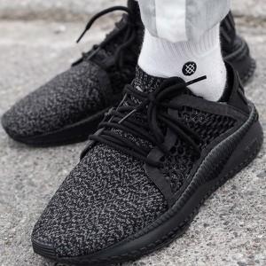 Czarne buty sportowe Puma w sportowym stylu sznurowane