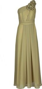Zielona sukienka Fokus midi z asymetrycznym dekoltem bez rękawów