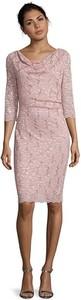 Różowa sukienka Vera Mont mini z długim rękawem
