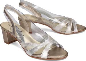 Srebrne sandały Brenda Zaro na obcasie ze skóry