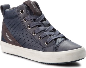 Granatowe buty dziecięce zimowe Geox sznurowane