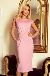 Różowa sukienka NUMOCO z krótkim rękawem midi z okrągłym dekoltem