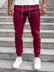 Czerwone spodnie Denley w stylu casual