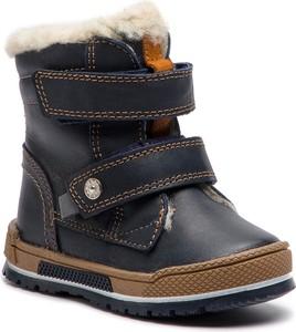 Granatowe buty dziecięce zimowe Bartek na rzepy