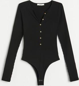 Czarna bluzka Reserved z bawełny z dekoltem w kształcie litery v
