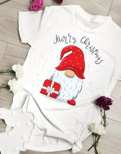 Bluzka Time For Fashion w bożonarodzeniowy wzór z okrągłym dekoltem z bawełny