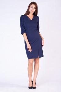 Niebieska sukienka butik-choice.pl midi z długim rękawem kopertowa