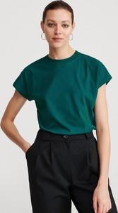 Zielony t-shirt Reserved z bawełny w stylu casual