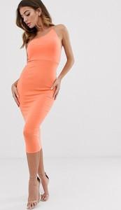 Pomarańczowa sukienka Asos dopasowana midi z okrągłym dekoltem