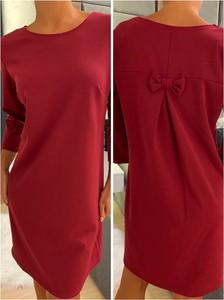 Czerwona sukienka ModnaKiecka.pl z okrągłym dekoltem z długim rękawem mini
