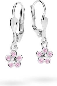 Cutie jewellery kolczyki dziecięce cutie kwiatki c2744 białego, pink, zapięcie patentowe
