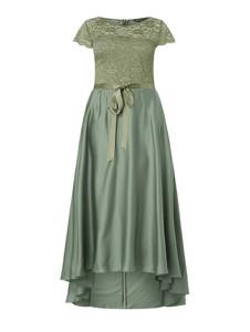 Zielona sukienka Swing Curve z krótkim rękawem z satyny midi