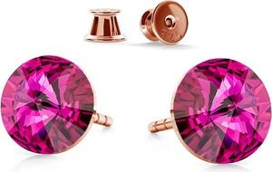 GIORRE SREBRNE KOLCZYKI SWAROVSKI RIVOLI 6MM 925 : Kolor kryształu SWAROVSKI - Fuchsia, Kolor pokrycia srebra - Pokrycie Różowym 18K Złotem