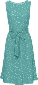 Turkusowa sukienka bonprix BODYFLIRT w stylu retro bez rękawów
